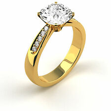 1.55 Ct Cushion H/SI2 Diamond Solitaire Engagement Ring 14K Yellow Gold Enhanced