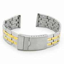 StrapsCo Stainless Steel Two Tone Men's Watch Band Silver Yellow Gold Tone Strap
