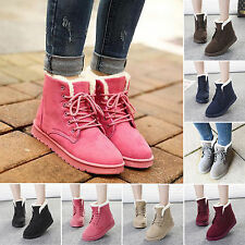 FASHION WOMENS LACE UP COLLAR FUR LINNED FLAT ANKLE WINTER WARM SNOW BOOTS SHOES