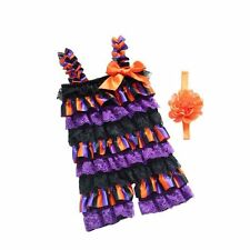 Infant Kid Baby Girl Lace Ruffle Rompers Halloween Dress up & Strap Headband