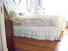 "15"" Drop Multi Ruffle Bed Skirt 800 TC Egyptian Cotton Twin/Full/Queen/King"
