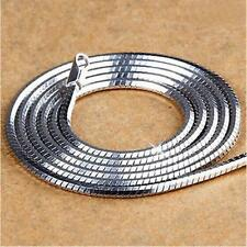 Women/Men Punk Snake Chain Necklace 3mm Silver Plated