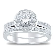 Solitaire CZ Sterling Silver Wedding Engagement Ring Set for Women