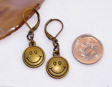 SMILING Smiley FACE Charm Lever Back Earrings Bronze Tone OPTIONS: Short or Long