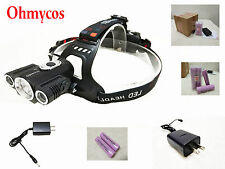 Ohmycos CREE XM-L T6 LED Hunting Headlamp Bicycle Flashlight Torch 18650+Charger