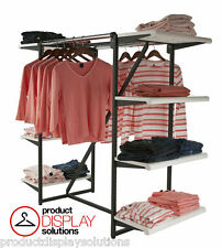 Combination Clothing Garment Display Rack w/ Double Hangrail & Eight Shelves