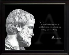 """Aristotle Photo Picture, Poster or Framed Famous Philosopher Quote """"Only One"""""""