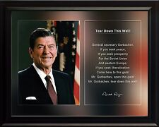 """Ronald Reagan Photo Picture, Poster or Framed Famous Quote """"Tear Down This.."""""""