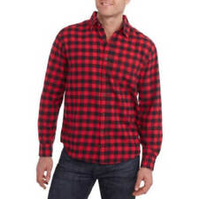 Faded Glory Men's Long Sleeve Flannel Shirt Polo L & XL Size Multiple Colors New