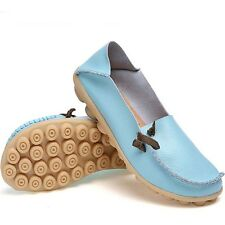 Womens Flat Shoes Leather Driving Peas Loafers Walking Moccasin Casual Comfort