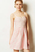 Anthropologie Pasteque Dress Size 8, Jacquard Pink & Silver By Moulinette Soeurs