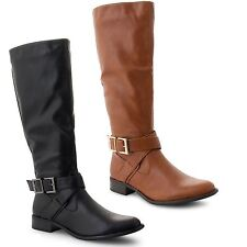 NEW Womens Ladies Flat Low Heel Stretch Mid Calf Under Knee Casual Boots Shoes