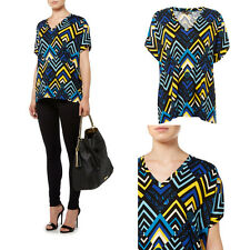 HOUSE OF FRASER BIBA MULTICOLOUR TRIBAL AZTEC PRINT TSHIRT TOP LOOSE FIT