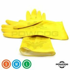 Yellow Rubber Washing UP Latex Gloves for Cleaning Household Kitchen Sml Med Lge
