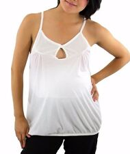 White Solid Maternity Womens Maternity Top Blouse New Button Cami