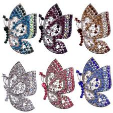 Stunning Butterfly Silver plated Brooch Pin Rhinestone Crystal Ladies Jewelry