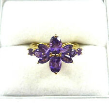 1.95ctw Genuine Amethyst Solid 10k Yellow Gold Cluster Ring
