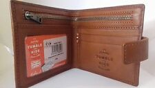 GENUINE LEATHER bifold Classic Card Wallet - Black Brown Tan by Tumble and Hide