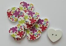 10 HEART SHAPED RED PURPLE FLOWER WOODEN PATTERNED BUTTONS 25MM FREE P&P UK