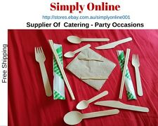5 10 25 50 Wood Eco Knife Fork Spoons Napkin Chopsticks - Party  catering Supply