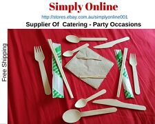 50 100 200 Wood Eco Knife Fork Spoons Napkin Chopsticks - Party  catering Supply