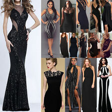Sexy Womens Long Evening Party Prom Gown Formal Bridesmaid Cocktail Dress Black