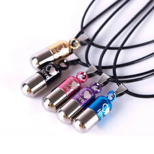 Mini Love Healing Pattern Metal Pill Pendant Necklace Stainless Steel Capsule