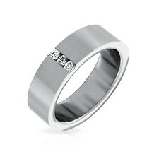 Bling Jewelry Stainless Steel CZ Tension Set Mens Engagement Ring 6mm