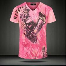 Men's Just Pink Skull Head Design Cavalli Cotton Blend V-neck Fashion Tee Shirt