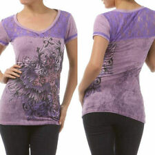S M L T-Shirt Top In Vein Lace V-Neck Rhinestone Embellished Cross Wings Scroll