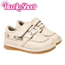 Boys Toddler Infant Childrens Leather Squeaky Shoes - Cream Colour Wide Fit
