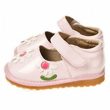 Girls Infant Toddler - Leather Squeaky Shoes - Light Pink with Pink Flowers