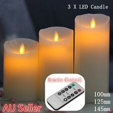3X REMOTE CONTROL LED SOFT FLAMELESS FLICKERING FLAME CANDLES PILLAR CHURCH AI