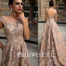 Champagne A-Line Evening Gown Sleeveless Embroidery Formal Party Pageant Dresses