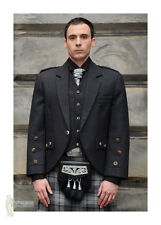 ARACA TWEED SCOTTISH KILT JACKET & VEST - CHARCOAL  - 100% WOOL - CHEST 48""