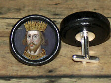 Plantagenet history KING HENRY II Altered Art CUFF LINK or HAIR PIN pair Set