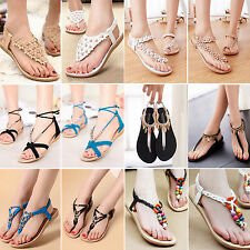 Women Summer Beach Sandals Bohemia Beads Toe Post Flip Flops Flat Slippers Shoes
