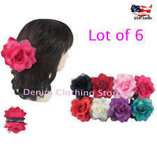 6pcs Double Sided Flower Rose Hair Clip Claw Jaw Pin Party Wedding Wholesale Lot