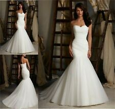 White/ivory organza Mermaid Wedding Dress Bridal Gown stock size 6-8-10-12-14-16