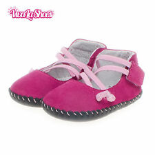 Girls Toddler - REAL Leather Soft Sole Baby Shoes - Hot Pink with Pale Pink Trim