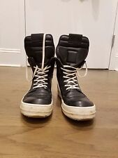 RICK OWENS GEOBASKET SNEAKERS - SIZE 44 (US 11) - BLACK AND WHITE