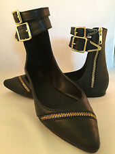 Mia Mia Cleo Womens Black Gold Zipper Ankle Strap Faux Leather Flats Shoes 6 N