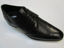 Mens Designer Leather Black Brogues Shoes Vintage Look wingtip