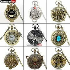 Antique Vintage Steampunk Mens Pocket Watch Quartz Necklace Chain Pendant Xmas