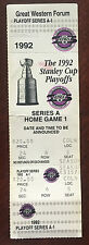 1992 Los Angeles KINGS NHL Hockey Stanley Cup Playoff Full TICKET Wayne Gretzky