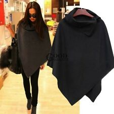 Womens Wool Poncho Jacket Coat Ladies Warm Loose Cloak Cape Tops Black Gray TXGT