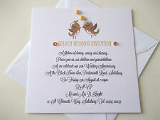 Personalised Golden Wedding 50th Anniversary Invitations (3) Love Birds