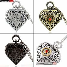 Antique Heart Hollow Pocket Watch Vintage Quartz Necklace Chain Steampunk Gift