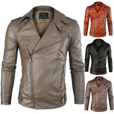 Stylish Mens PU Leather Coat Jackets Slim Fit Motorcycle Biker Parka Outwear New