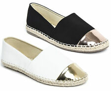 Womens Ladies Slip On Flat Espadrilles Casual Summer Sandals Shoes Pumps Size